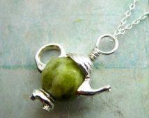 Connemara marble, teapot pendant from Ireland. Afternoon Tea