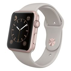 Apple Apple Watch Sport 42mm Rose Gold Aluminum Case Stone Sport Band (1.185 RON) ❤ liked on Polyvore featuring jewelry, watches, stone jewellery, red gold jewelry, sport watches, sports watches and sport wrist watch