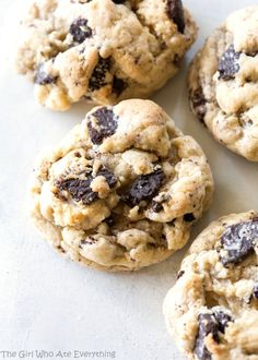 Cream Cheese Cookies 'n Cream Cookies - the softest, creamiest cookies that have chopped up Oreos throughout. Add some festive Oreos for Christmas. the-girl-who-ate-everything.com