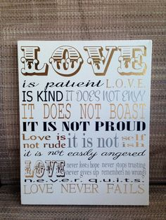 Love is Patient love is kind canvas wall by RachelsVinylCrafts, $18.00
