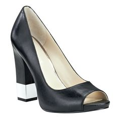 """Peep toe pump with all leather upper.  4 1/4"""" square heel & 1/2"""" platform with metal accent."""