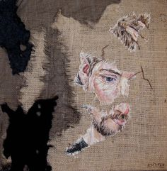 Embroidered Portrait Artwork by Emily Tull, represented by Artist Partners Thread Painting, Thread Art, Hand Embroidery Stitches, Embroidery Art, Collage Drawing, Art Diary, Creative Textiles, Art And Craft Design, A Level Art