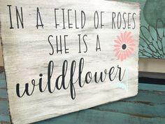 Rustic Hand Painted Wildflower Wood Sign/Wall by KobersCreations