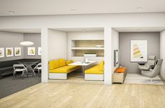 This space provides a variety of lounge options for 2-6 users, and provides workers with access to power and a feeling of enclosure. Users can touchdown between meetings or camp out for longer working sessions