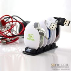 Never Fight Tangled Cords Again. Recoil Automatic Cord Winders instantly and automatically wind and organize cords, cables and headphones — eliminating the universal frustration of tangled cords that everyone deals with.