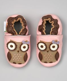 Love this MOMO Baby Pink & Brown Owl Leather Booties by MOMO Baby on #zulily! #zulilyfinds