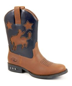 Look at this #zulilyfind! Tan & Navy Rodeo Embroidered Boot - Kids #zulilyfinds