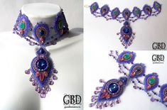 Safi Indian necklace with natural sapphires and tender Indian onyx emerald color, with natural faceted amethyst and crystal swarovski large complex shades, Venetian embroidery faceted vintage beads coated with 24K gold and the Japanese Toho beads, fine work!
