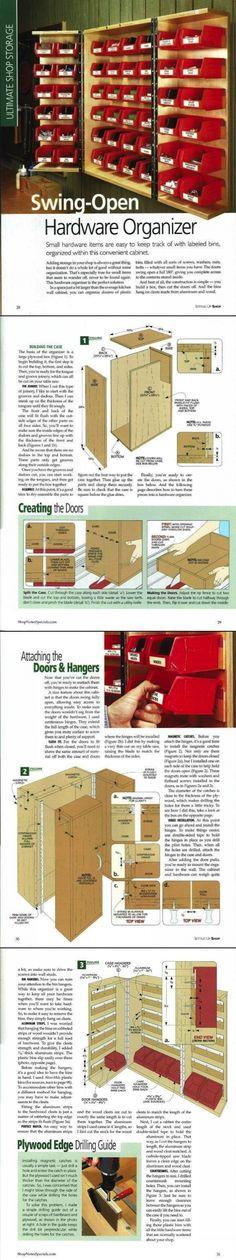 Swing-Open Hardware Organizer - ShopNotes Magazine / Setting Up Shop 2009