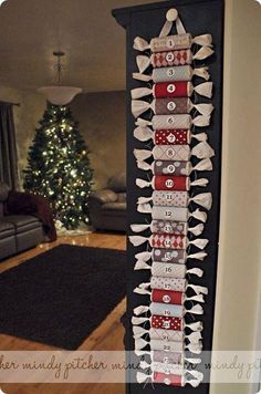Advent calendar from wrapped/repurposed toilet paper roles