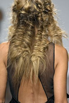 Crazy editorial style / messy bohemian fishtail braids