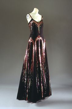 Evening Ensemble, House of Chanel, Designer Coco Chanel, F/W 1938-39, French, silk, plastic, suede and glass