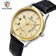 Hot Luxury Men's Date Watch Stainless Steel Leather Analog Quartz Military Watch