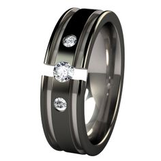 Abyss Past-Present-Future Two-Tone Black Tension Setting with Inset Gems