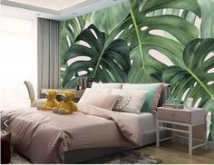 Apartment decor: 60 ideas with photos and designs - Home Fashion Trend Tropical Houses, Tropical Decor, Tropical Interior, Wallpaper Wall, Leaves Wallpaper, Creation Deco, Cleaning Walls, Tropical Leaves, Tropical Forest