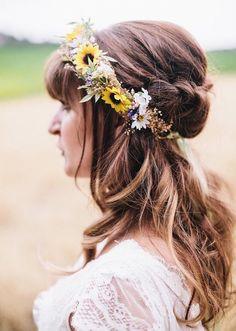 Sunflower & Wild Daisy Flower Crown  Sunflower by BohoHaloCompany