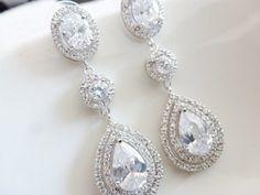 Bridal Earrings - Wedding Earrings dangle Earrings - Wedding Jewelry Bridal Jewelry - Pear and Round Cubic Zirconia Drops on Etsy, $45.00