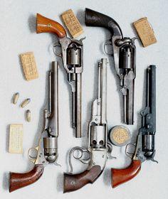 Colt's navy revolver, Kerr revolver, Savage Navy revolver, Remington's Revol. Weapons Guns, Guns And Ammo, Black Powder Guns, Hand Cannon, Revolver Pistol, Lever Action Rifles, Gun Holster, Holsters, Cool Guns