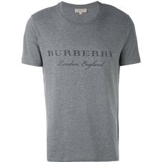 295737d4dff1 Burberry logo print T-shirt (220 CAD) ❤ liked on Polyvore featuring men s  fashion, men s clothing, men s shirts, men s t-shirts, grey, mens grey shirt,  ...