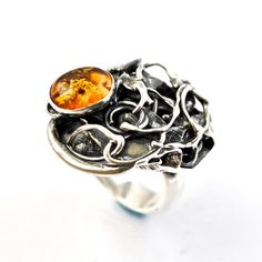 Silver Amber Ring One of a Kind Artisan Ring by AlexAirey www.etsy.com/shop/alexairey