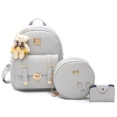 3 Pieces Bow Metal Backpack Set - GRAY