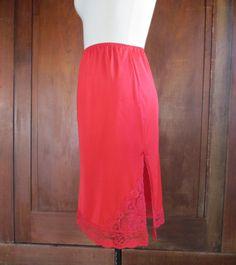 70s Nylon Slip - Womens Vintage Lingerie - Red - Lace Trim - Womans - Woman - Skirt Slip