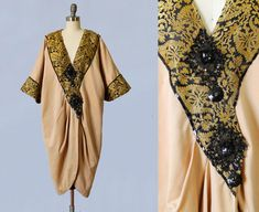 1920s Coat / 20s Flapper Cocoon Coat / Ethnic Motif / Beaded / Egyptian Revival / Middle Eastern