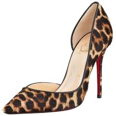 Christian Louboutin Pre-owned Christian Louboutin Iriza Leopard Calf... ($765) ❤ liked on Polyvore featuring shoes, pumps, leopard calf hair, transparent pumps, pointy toe pumps, red sole shoes, leopard print pumps and court shoes