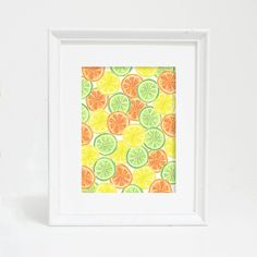 Lemons and oranges and limes -- oh my! Bright up your kitchen decor with this hand painted watercolor citrus fruit art print.