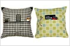 Pillows for holding remote controls, cell phones, glasses, etc.