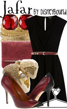 Disney Bound - Jafar black out fit, black combat boot, red sparkly jewlery, feather in hair