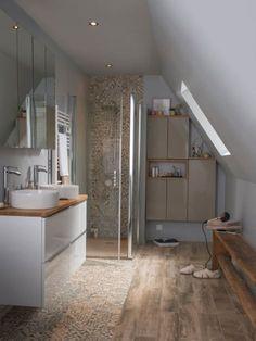 Sloped Ceiling Bathroom, Small Attic Bathroom, Barn Bathroom, Loft Bathroom, Loft Conversion Bedroom, Barn Conversion Interiors, Inside Home, Bathroom Interior Design, Bathroom Inspiration