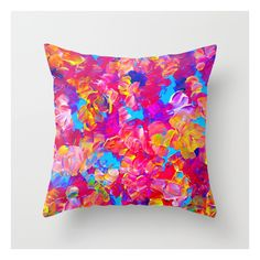 Floral Fantasy Bold Abstract Flowers Acrylic Textu… Throw Pillow ($20) ❤ liked on Polyvore featuring home, home decor, throw pillows, flower stems, floral throw pillows, turquoise throw pillows, flower home decor and floral home decor