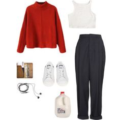 recoup red knitted top, white top & sneakers, grey pants