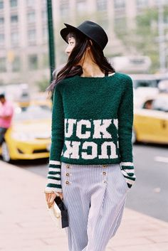 Lincoln Centre, NYC, September 2014. Recreate her look (kind of): Intarsia sweater (say it...