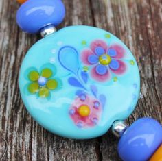 Fleur...... mini Lampwork set by Pixie Willow by pixiewillow