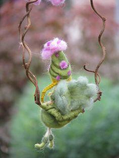 Needle felted  fairy sitting on a twig waldorf by Made4uByMagic