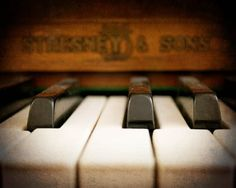 Piano Photograph  ivory keys close up black by FirstLightPhoto, $30.00