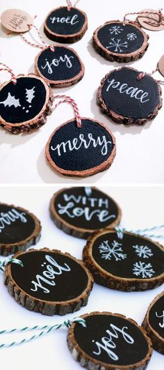 Christmas DIY: Rustic Tree Slice Or Rustic Tree Slice Ornaments. These rustic tree slice ornaments are a great addition to your Christmas ornament collection. Rustic Christmas Ornaments, Noel Christmas, Winter Christmas, All Things Christmas, Ornaments Ideas, Wood Ornaments, Diy Christmas Tree Decorations, Outdoor Christmas, Christmas Tree Ideas