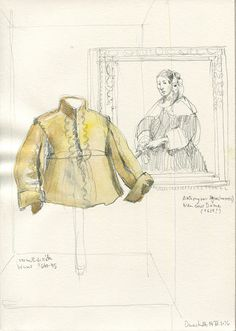 CATALINA: CHIC! Pencil and watercolor drawings at the Hessisches Landesmuseum in Darmstadt, Germany.