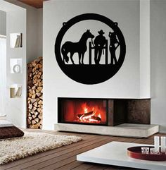 Wall Vinyl Sticker Decals Mural Room Design Pattern Cowboy Cowgirl Horse Western Man Woman mi432 by RoomDecalsAndDesigns on Etsy