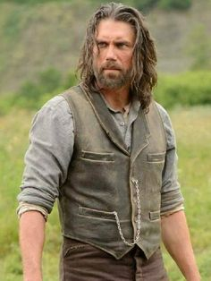 Anson Mount Hell on Wheels Cullen Bohannon Vest Temp Fade Haircut, Anson Mount, High Skin Fade, Pompadour Fade, Side Part Hairstyles, Men's Hairstyles, Hell On Wheels, Leather Vest, Bearded Men