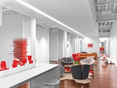 Rottet Studio placed a metal stool under portraits of Bullseye, Target Corporation's canine mascot, in the company's reception area in Chelsea.Photography by E...