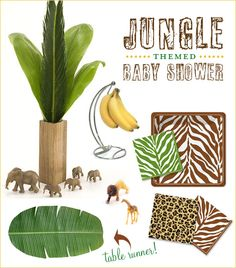 Like this idea...but maybe instead of jungle use beach or nautical...Jungle Baby Shower Theme {Chic & Stylish}