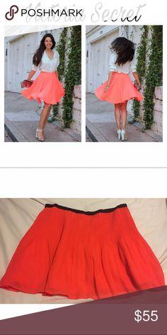 💝Victoria Secret Pleated MiniSkirt💝 Neon Orange pleated miniskirt. 💝👗 Victoria's Secret Dresses Mini