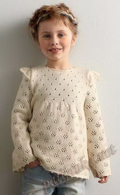 Knit Alpaca Wool Blend Girls Sweater / Pullover - Off White/Ivory Knitting For Charity, Knitting For Kids, Baby Knitting, Knitting Stitches, Knitting Designs, Knitting Patterns Free, Baby Sweaters, Girls Sweaters, Sweaters For Women