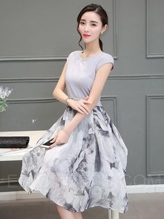 3f719cdf1fc Ericdress Print Patchwork Sleeveless Casual Dress 3 Women s Dresses