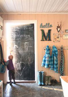 Front closet door.  Done. Chalkboard door for an entry way | #HeartoftheHome