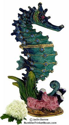 Trinket Box: Aqua Blue Seahorse