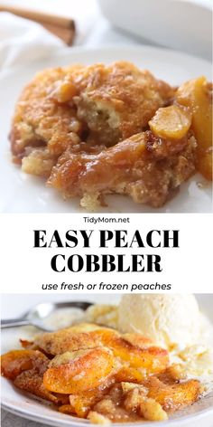 Mar 2020 - This tried-and-true Peach Cobbler recipe is easier than pie! Use fresh or frozen peaches so you can enjoy peach cobbler year-round. Serve it with a scoop of ice cream for the perfect dessert. Easy Desserts, Delicious Desserts, Yummy Food, Cajun Desserts, Recipes For Desserts, Necterine Recipes, Autumn Desserts, Chard Recipes, Summer Dessert Recipes